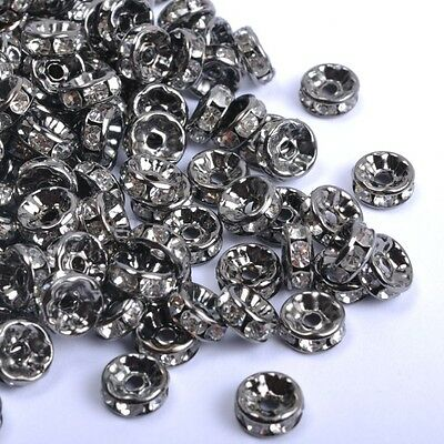 100Pcs GOLD & SILVER, BRONZE, Czech Crystal Rhinestone Rondelle Spacer BEADS