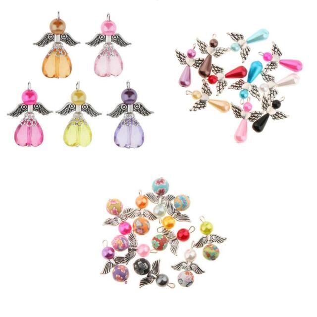 20pcs Jewelry Charms Mixed Dancing Angel Wings Pearl Teardrop Pendants Beads