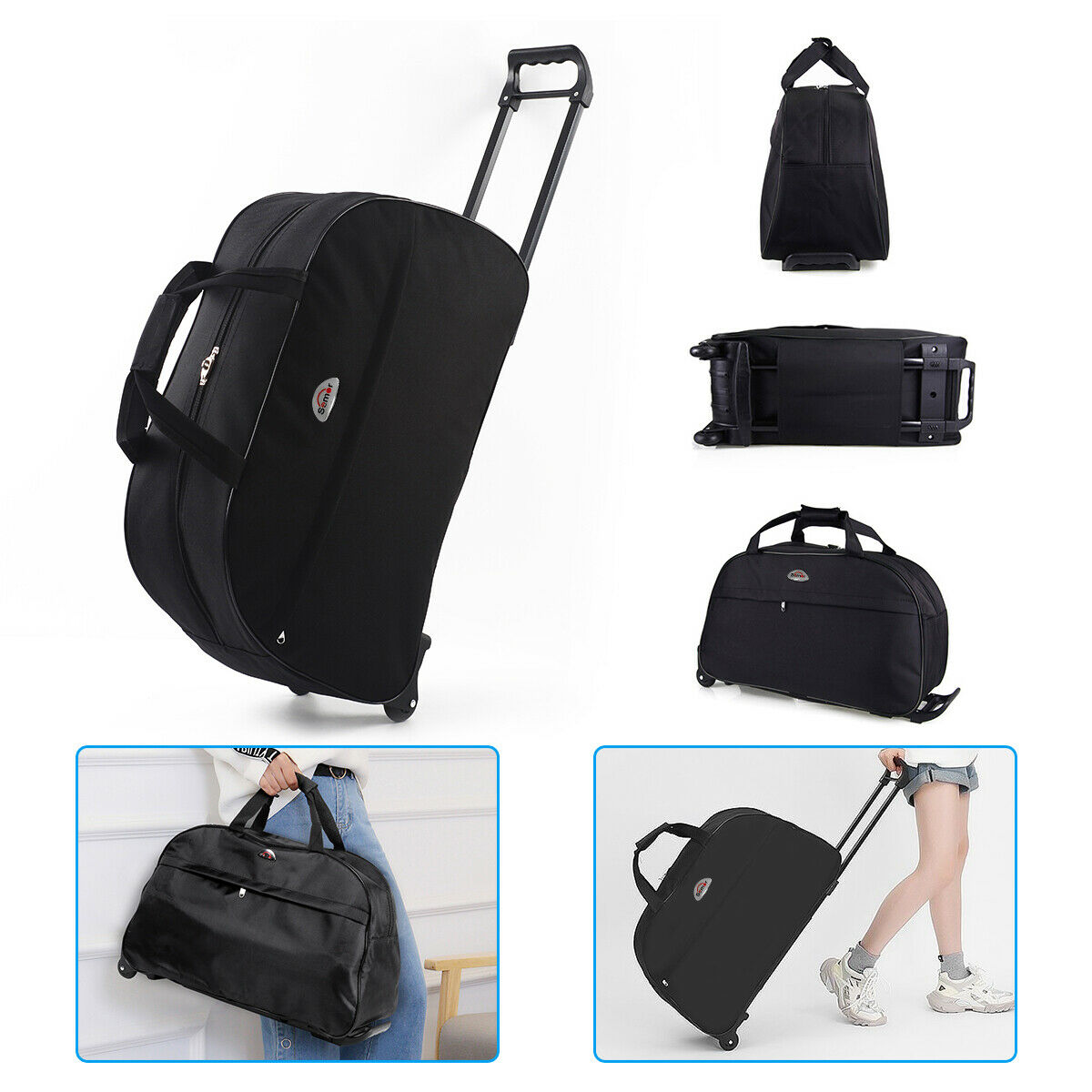 Duffle Bag 24 Rolling Wheeled Trolley Bag Tote Carry On Luggage Travel Suitcase