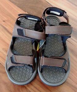 62d8bf01374 NEW Men s EDDIE BAUER Hank Brown Genuine Leather Sandals Shoes Size ...