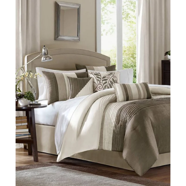 7-Pc Leone Paisley Embroidery Comforter Set Beige Coffee Tan Gray Taupe Queen