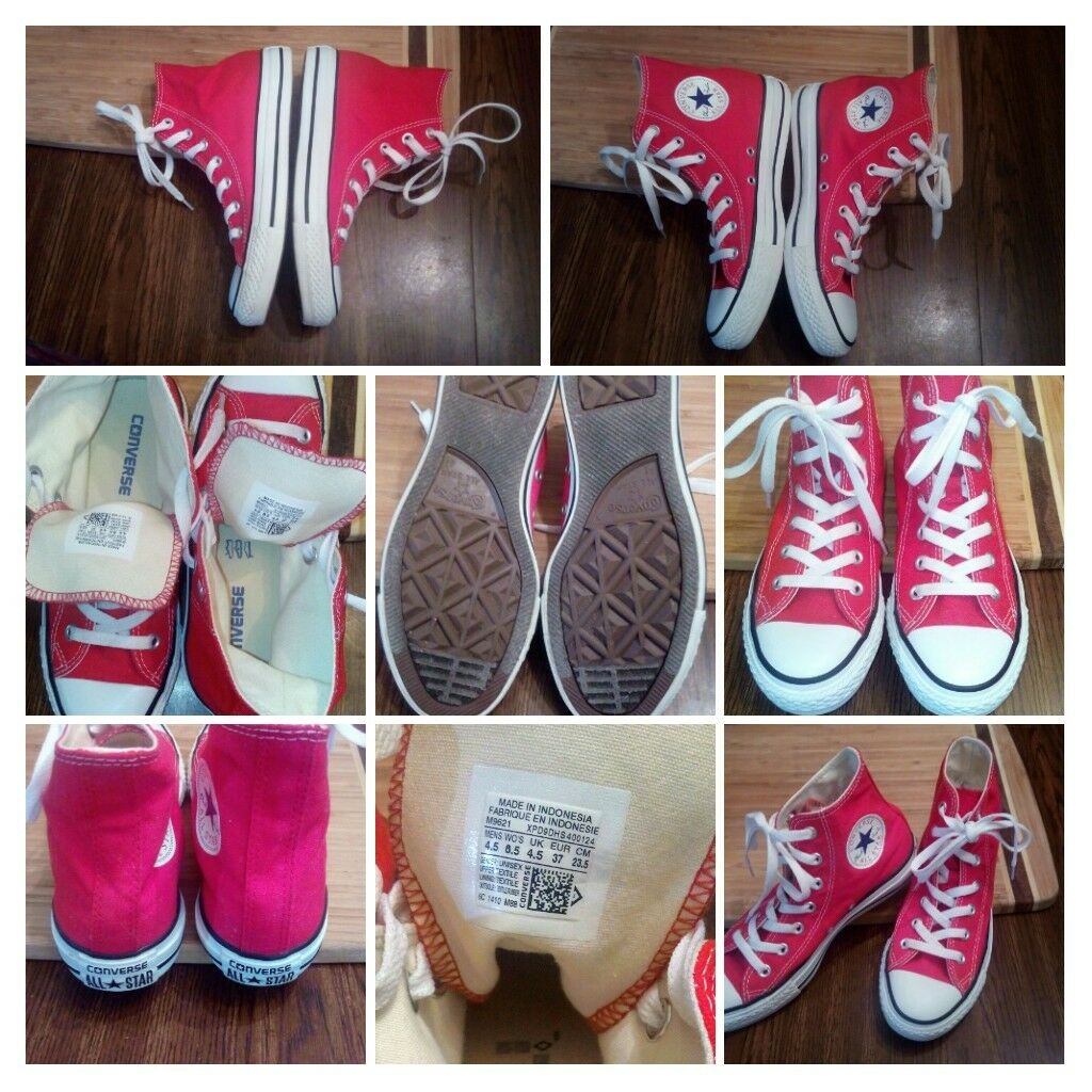 Converse Hi Top Red All Star Chuck Taylor Red Top Canvas White Mens 4.5 Womens 6.5 Shoes e2dde6