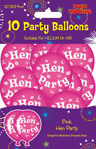Printed-Latex-Pink-Hen-Party-Balloons-Pack-of-10-Hen-Party-Decoration