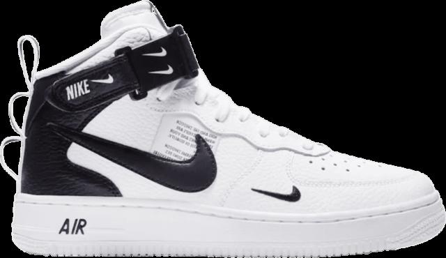 Grade School Nike Air Force 1 Mid LV8 White/Black AV3803-100 GS SIze 7Y