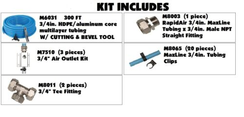 """MaxLine COMPRESSED AIR TUBING piping system Master Kit  3//4/"""" pipe x 300 FT M7580"""