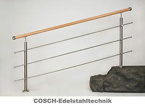 holz treppengeländer holz edelstahl handlauf aufmontage, Moderne