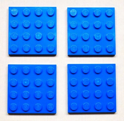 x4 NEW Lego Blue Plates 4x4 Brick Building Blue Baseplates