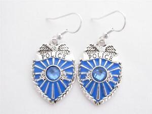 Police-Policeman-Officer-Cop-Badge-Shield-Blue-Crystal-Earrings-Jewelry