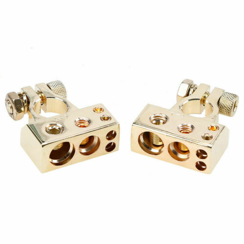2x Gold 0//4//8 Awg Gauge Car Positive Negative Battery Terminal Clamps Universal