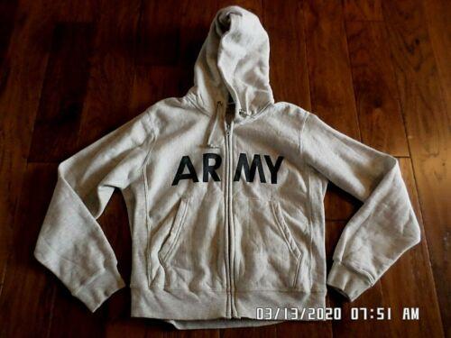 U.S ARMY MILITARY FULL ZIPPER HOODED SWEATSHIRT PFU VINTAGE 1990/'S ERA STOCK