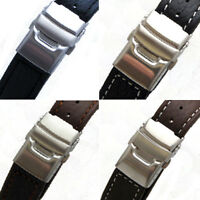 Mens Leather Watch Strap/Band with Deployment Clasp (Grained and Padded Leather)