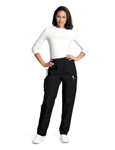 Landau Black Cargo Scrub Pant Drawstring Elastic Waist Straight Leg #8501 BLACK
