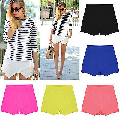 Womens Irregular Tiered Culottes Skorts Shorts Skirt Slim Hot Short Pants S-XL