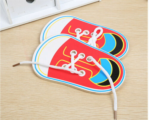 Wooden Lacing Shoes Toy Kid Educational Toy Lacing Tie Shoelaces Learning Toy SK