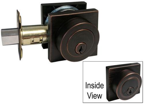 Dark Oil Rubbed Bronze door Square plate round knob lock entry privacy deadbolt