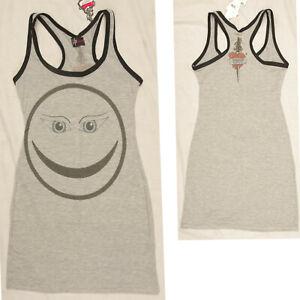 GREY SMILEY FACE VEST TOP MINI DRESS ALTERNATIVE GOTHIC EMO SIZE 8 to 10