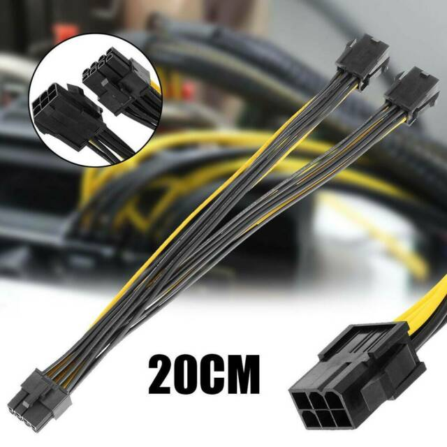 20cm 6P To 8P Dual 6Pin To 8Pin 18AWG Graphics Card Power Cable Wires Line Cord\