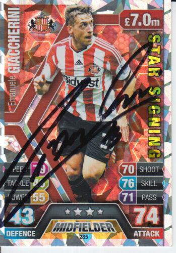 Sunderland main signé Emanuele giaccherini Match Attax Carte 13//14.