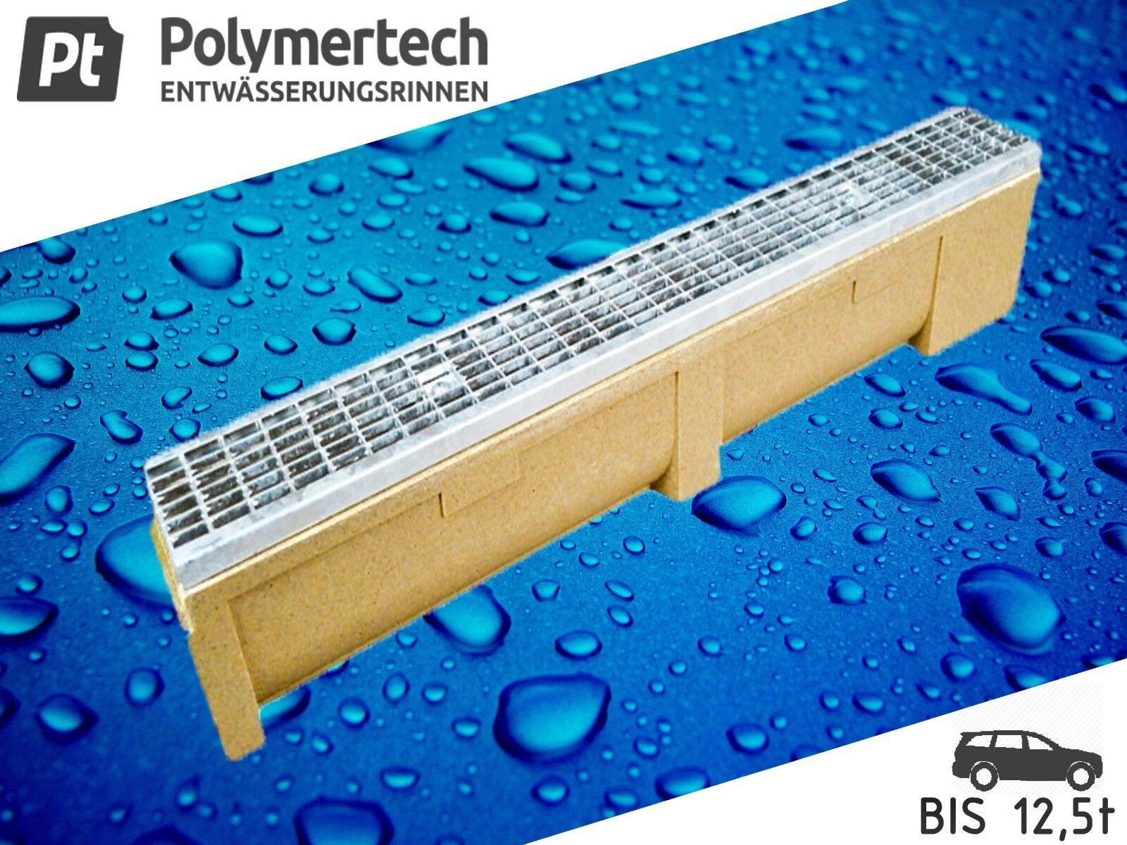 Polymerbeton Entwässerungsrinne inkl.Maschenrost verzinkt kl.B-125 bis 12.5t