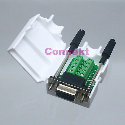 DB9 female 9Pin D-Sub Connector solderless Terminal Board Plastic Cover screw