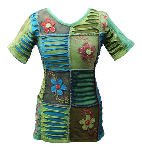 Women Patchwork Body Fit Vest Blouse Ladies T-shirt Festival Hippie Summer Tops