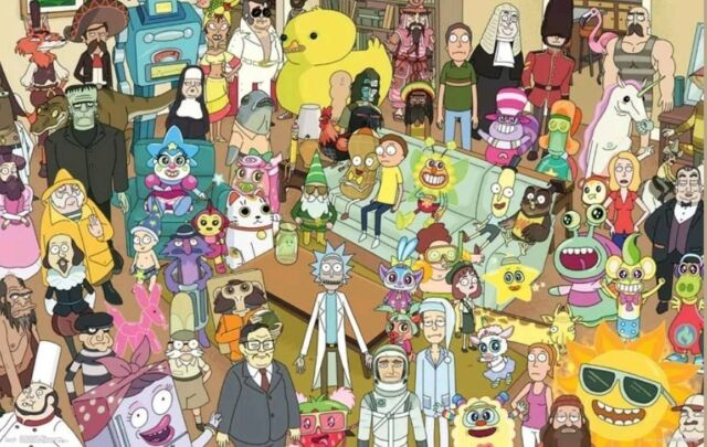 TV SHOW 15461 RICK AND MORTY dd CHARACTER COLLAGE POSTER 22x34
