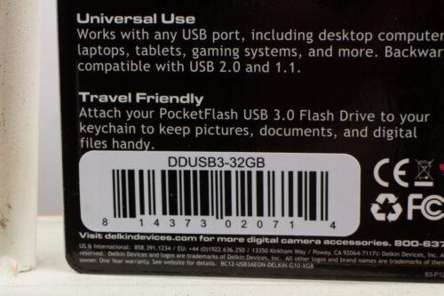 Delkin 32GB Pocket Flash USB 3.0 Flash Thumb Drive DDUSB3-32GB Authorized Dealer
