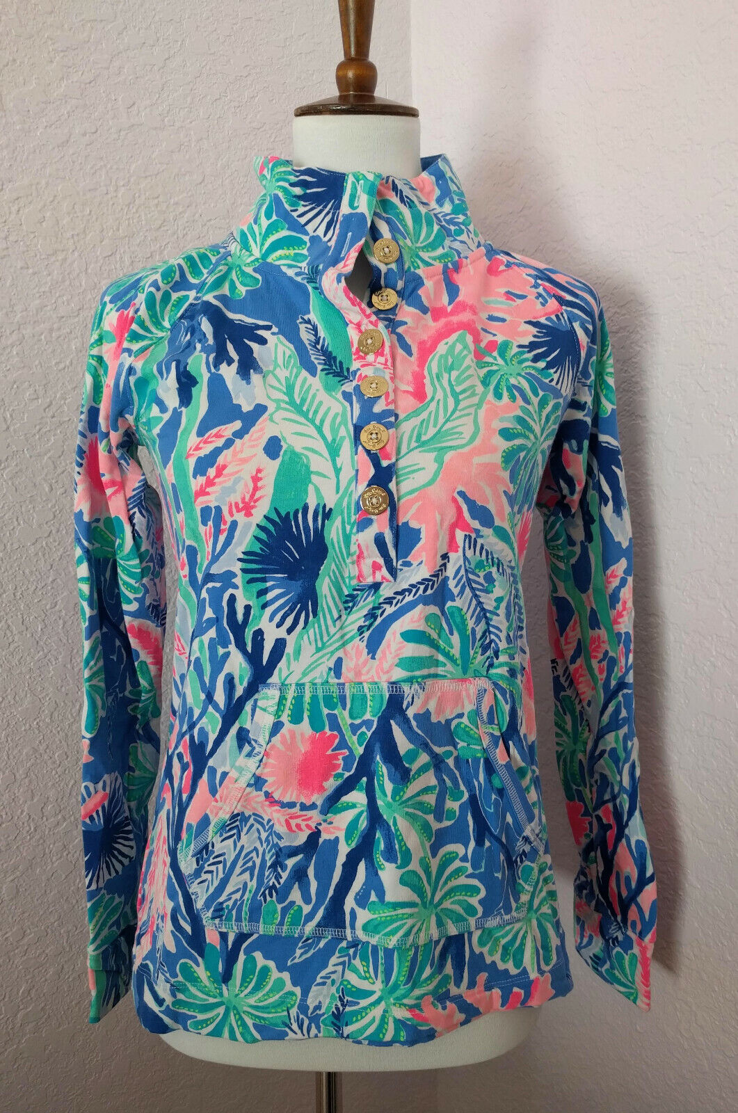 Lilly Pulitzer Jet Stream Captain Popover Größe Small Excellent Condition