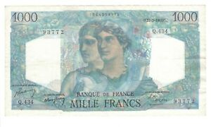 Vintage Banknote France 1948 1000 Francs VF/XF Pick 130b US Seller
