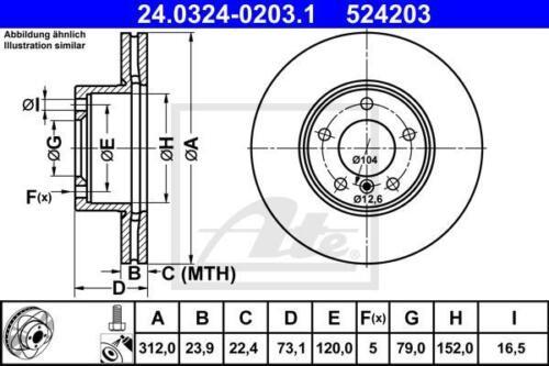 ATE POWERDISC Ø312+CERAMIC VORNE BMW 1er F20+F21 2er F22 3er F30+F31+F80 4er F32