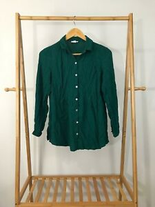 J-Jill-Women-039-s-Green-Button-Front-Rayon-Long-Sleeve-Shirt-Size-S
