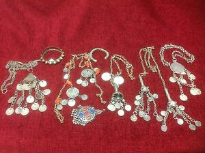 Assortment-Of-Antique-Tribal-Indian-Kashmir-Afghanistan-Silver-Jewellery