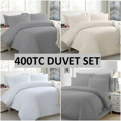 Luxury 400tc Duvet Cover 100 Egyptian, White Super King Size Bedding Set