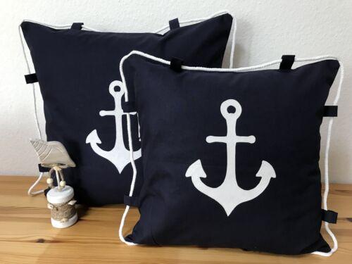 Coussin Maritime Housse cordon Bleu Foncé//Blanc 50x50cm. ANCRE