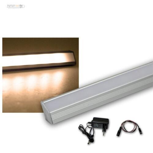 Set LED Alu-Eck-Lichtleiste 27 LEDs warm Trafo Unterbauleuchte Küchenleuchte