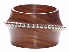 Unique - Burnished Wooden Cylinder/chrome Balls Embellished Hand Bangle(Zx196)