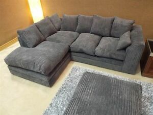 Details about NEW BEAUTIFUL SASHA FABRIC SOFA GREY JUMBO CORD CORNER SOFA  UK DELIVERY