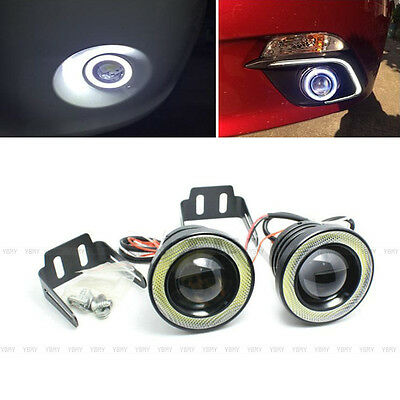 "2X 30W Car 3.0"" COB LED Driving Fog Lamp Work Light With Angel Eye Halo Ring"
