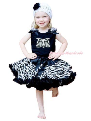 Halloween Party Skeleton Rib Print Black Top Zebra Pettiskirt Girl Outfit 1-8Y