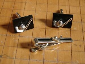 2f073d6e4fd3 Details about Vintage 1950s-60s GOLF CLUB & BALL Cuff Links & Matching Tie  Bar Set- Black Onyx