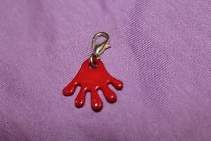1 Anhänger Für Bettelarmband Mit Karabiner - Silbern Hand Rot Finger Charm