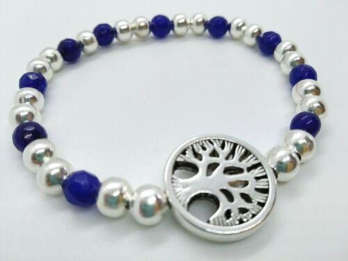 Pulsera cuentas azules con charm arbol de la vida plata tibetana elastica 20 cm