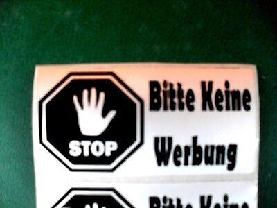 """3 St. Aufkleber """" Bitte Keine Werbung"""" Für Draußen Alu Folie Stark Klebend"""