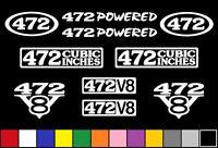 472 Ci V8 Powered 10 Decal Set Engine Sticker Emblem Fender Badge Caddy Decals