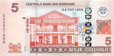 Suriname 5 Dollar 2012 Unc Pn 162b