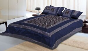 Indian-Made-5-PC-Complete-Silk-Brocade-Beautiful-Printed-Bed-Sheet-Bed-Cover-Set