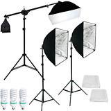 Lusana Studio Photography 3 Softbox Boom Stand Continuous Lighting Kit