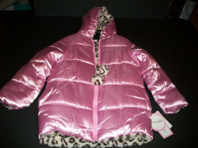 Girls Reversible Hooded Coat By Pistachio Color Pink/Leopard. (New) *Medium 5-6