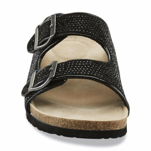 New Womens Attention Adella Studded Slide Sandal Style 52192 Black 87M lr