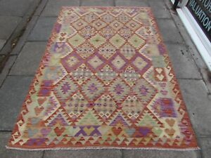 Kilim-Old-Traditional-Hand-Made-Afghan-Oriental-Kilim-Red-Purple-Wool-222x150cm